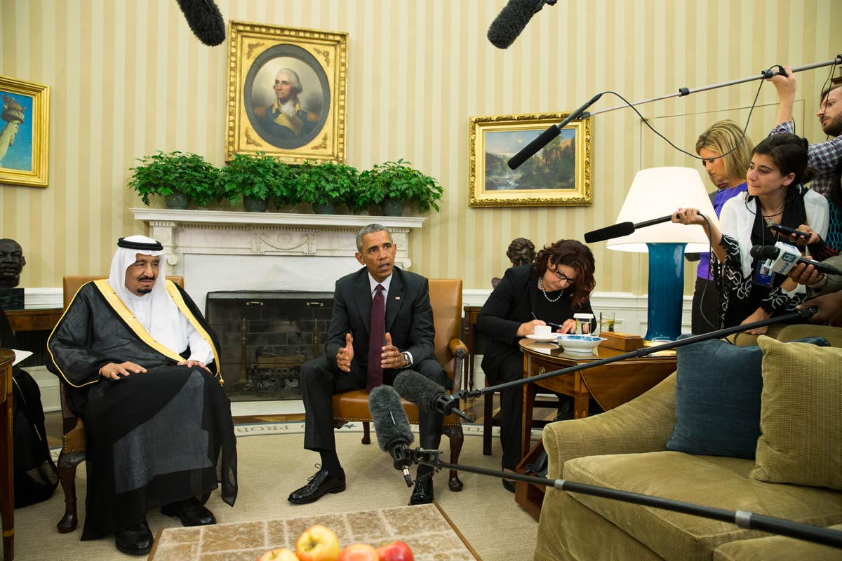 President Barack Obama, right, meets with King Salman of Saudi Arabia in the Oval Office of the White House, on Friday, Sept. 4, 2015, in Washington. (AP)
