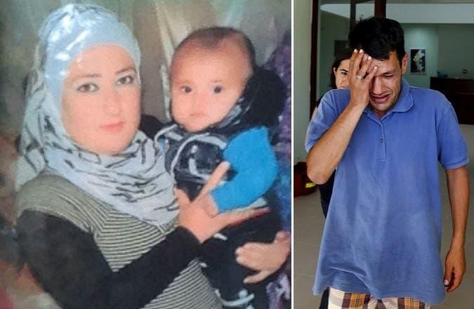 عبد الله يبكي قتلاه، وزوجته في الصورة الثانية مع الابن آلان حين كان رضيعا