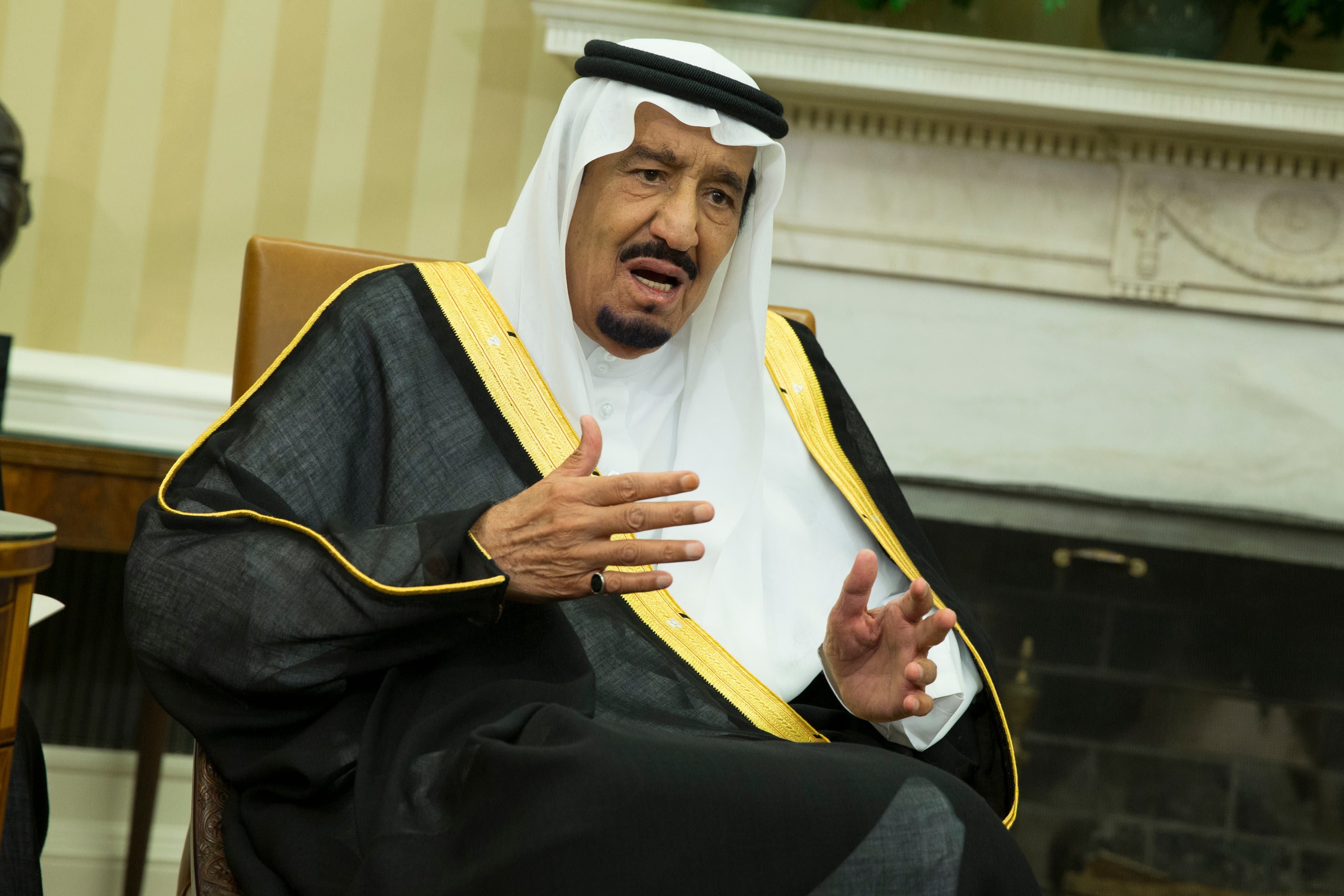 King Salman of Saudi Arabia speaks during a meeting with President Barack Obama in the Oval Office of the White House, on Friday, Sept. 4, 2015, in Washington. (AP Photo/Evan Vucci)