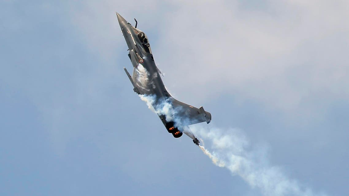 A Rafale Jet Fighter performs during a demonstration flight at the Paris Air Show, in Le Bourget airport, north of Paris, Wednesday, June 17, 2015. AP