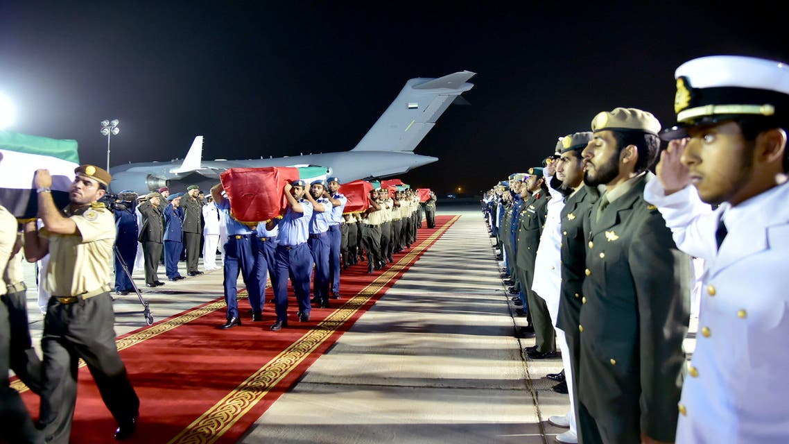 In this photo made available by Emirates News Agency, WAM, coffins containing the bodies of Emirati soldiers killed in Yemen arrive at the Al Bateen Airport early Saturday, Sept. 5, 2015, in Abu Dhabi, United Arab Emirates. (AP)