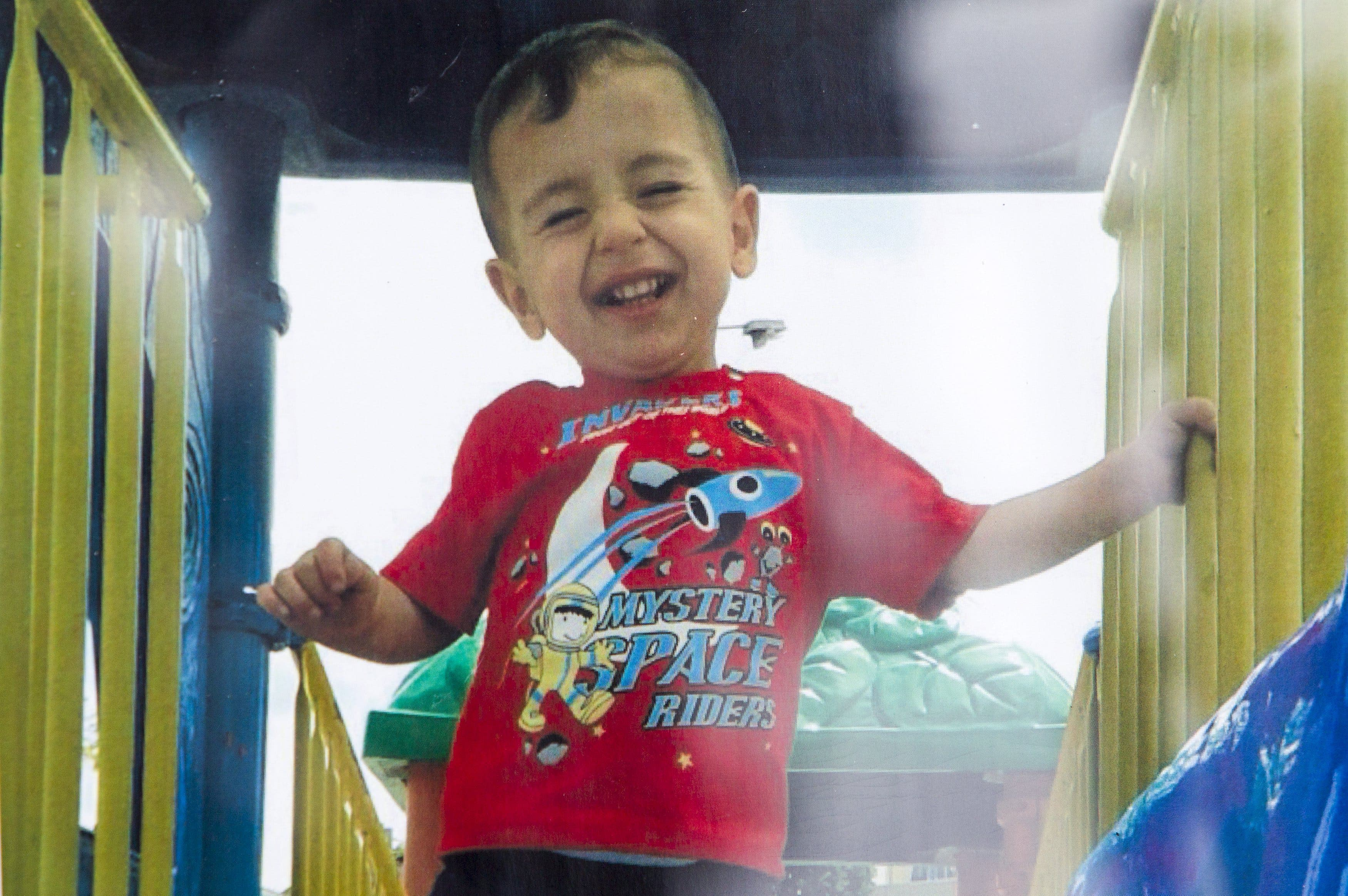 A close up shows Aylan Kurdi in an undated Kurdi family photograph placed outside the home of their aunt Tima Kurdi in Coquitlam, British Columbia. (Reuters)