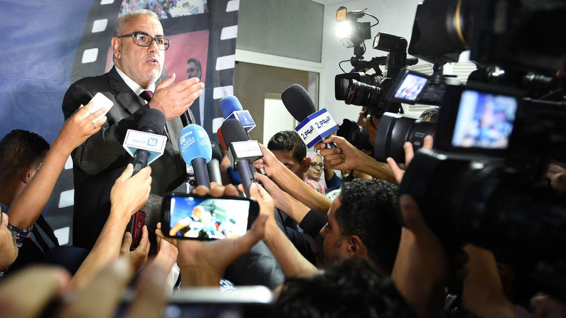 FS2954 - Rabat, -, MOROCCO : Prime Minister and Secretary General of the Islamist Justice and Development Party (PJD), Abdelilah Benkirane speaks to the press to show support for the municipal and regional elections in Rabat on September 5, 2015. AFP PHOTO/ FADEL SENNA