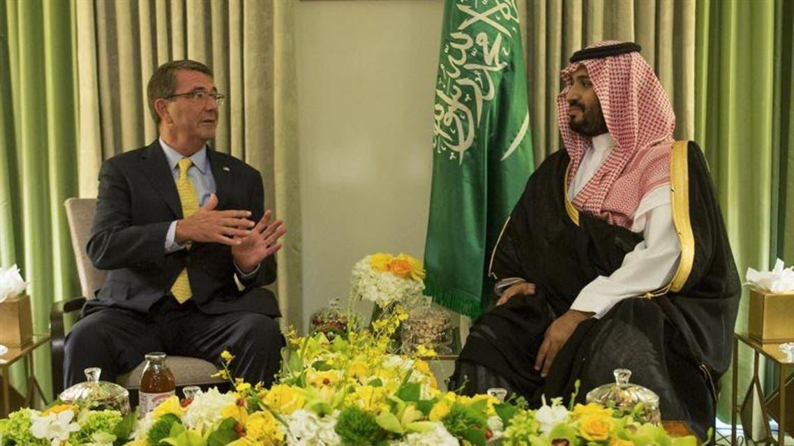 U.S. Defense Secretary Ash Carter meets with Saudi Deputy Crown Prince and Defense Minister Prince Mohammed bin Salman in Washington, D.C., Sept. 4, 2015. (Photo courtesy: DoD/ U.S. Air Force Senior Master Sgt. Adrian Cadiz)