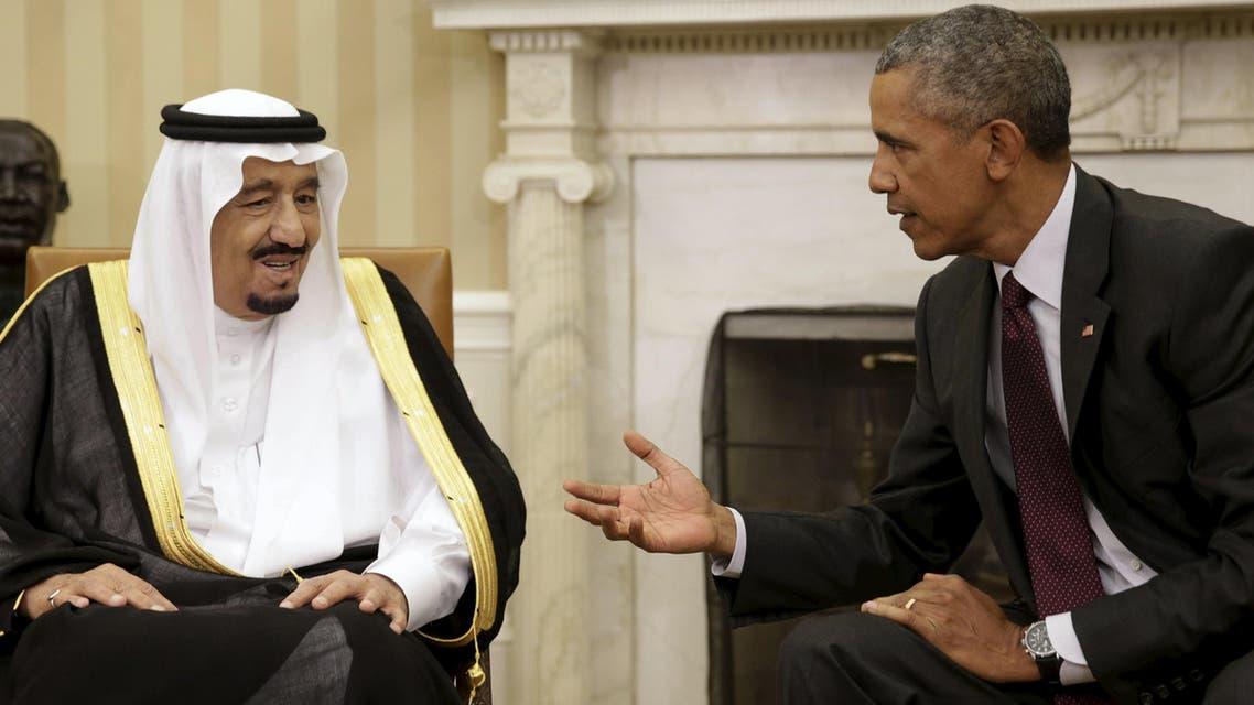 US President Obama meets with Saudi King Salman bin Abdulaziz in Oval Office of White House in Washington. (Reuters)