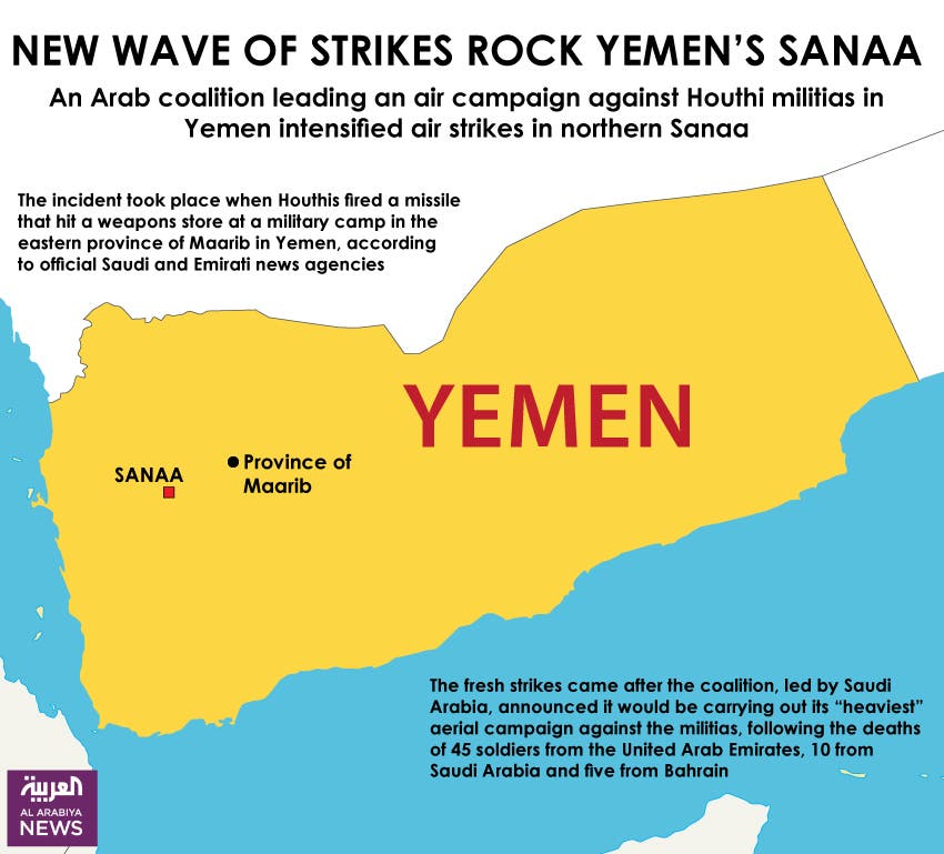 Infographic: New wave of strikes rock Yemen's Sanaa