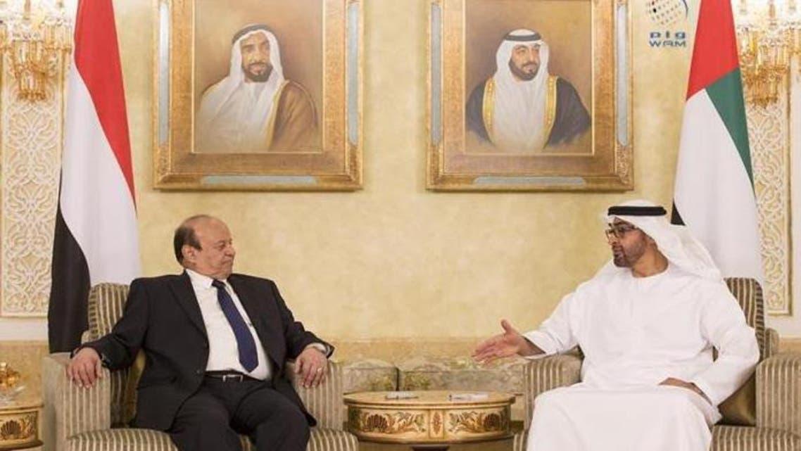 Sheikh Mohamed bin Zayed Al Nahyan, Crown Prince of Abu Dhabi and Deputy Supreme Commander of the UAE Armed Forces (R), receives Yemeni President Abdrabbu Mansour Hadi. (Photo courtesy: WAM news agency)