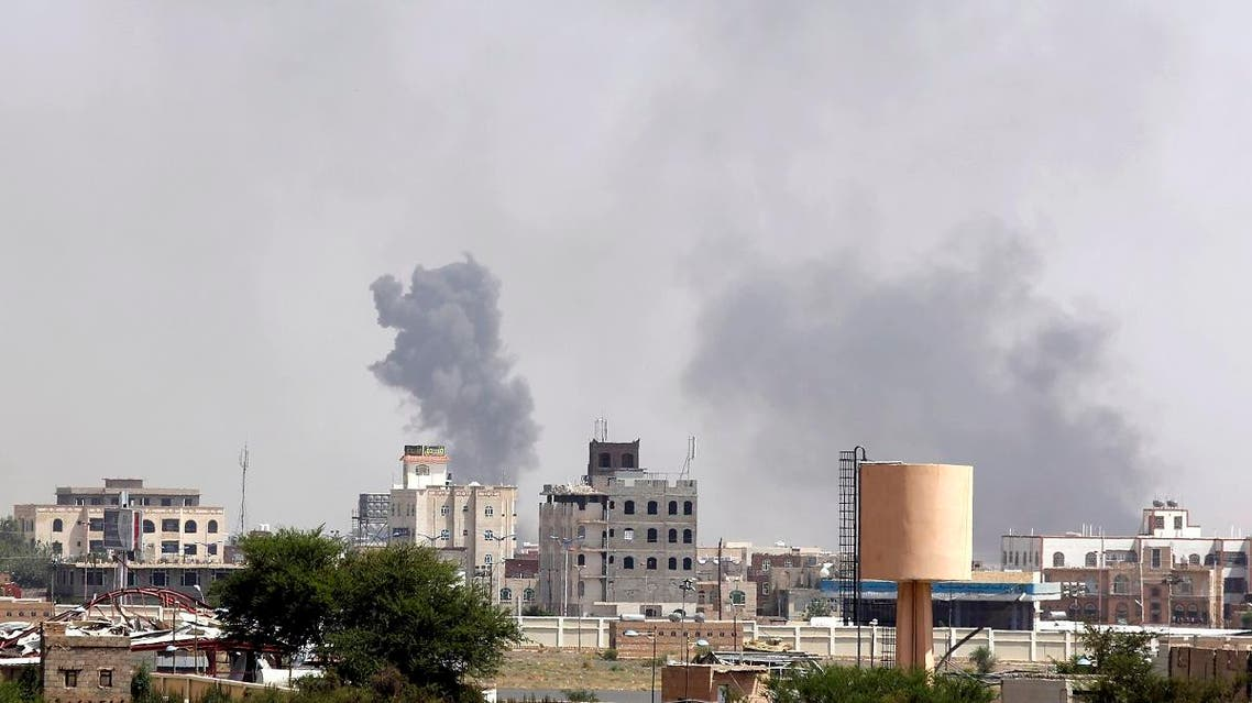 Smoke rises after an airstrike by the Saudi-led coalition in Sanaa on Sept. 6. (File photo: AP)