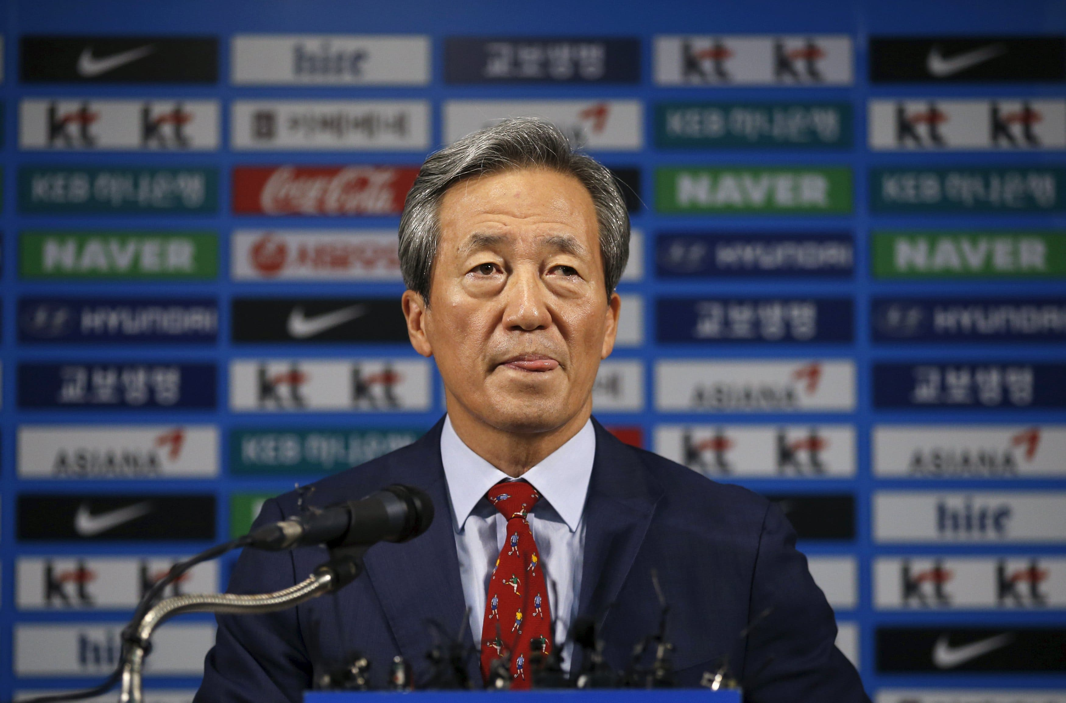 FIFA presidential candidate Chung Mong-joon speaks during a news conference in Seoul, South Korea, September 3, 2015. reuters