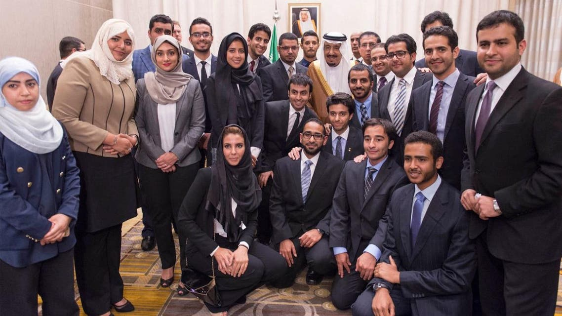 king Salman with students in U.S.