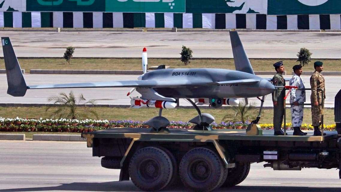 Pakistan's first locally manufactured armed drone aircraft is loaded on a vehicle during the Pakistan National Day parade in Islamabad, Pakistan, Monday, March 23. (File photo: AP)