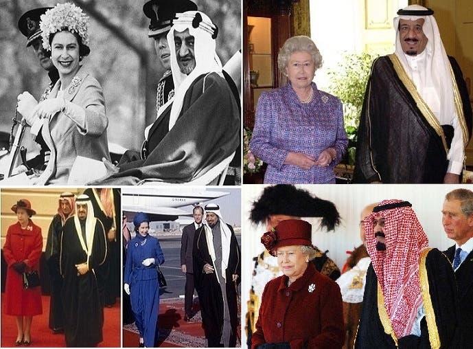 الملكة مع 5 من أصل 7 ملوك سعوديين عاصرتهم، الملك سلمان والملك عبد الله والملك فهد والملك خالد والملك فيصل
