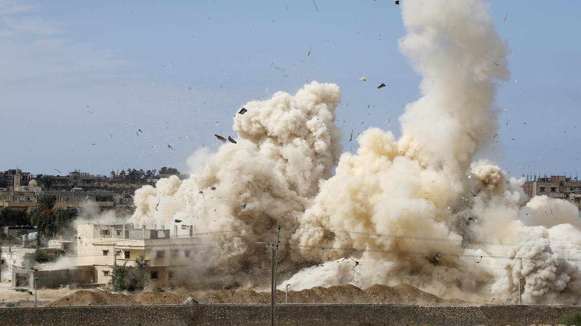 Smoke rises following a military operation by security forces in Rafah, an Egyptian city in the Sinai Peninsula, last October. (File photo: AFP)