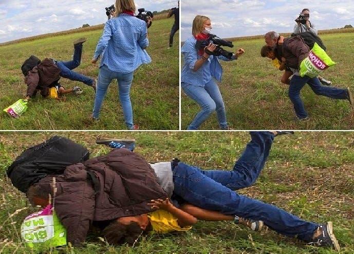 لمحته ناجيا بنفسه وطفله من الشرطة، ركلته، فتدحرج واقعا على الأرض فوق ابنه الصغير