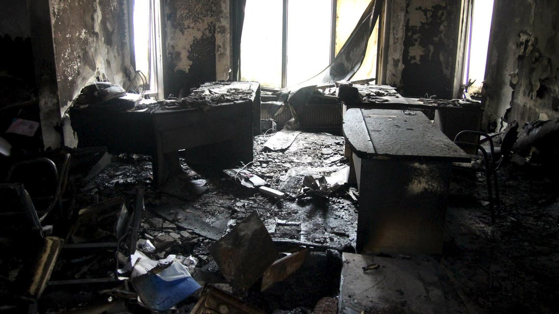 A destroyed room is pictured at the pro-Kurdish Peoples' Democratic Party's (HDP) headquarters after an overnight attack by protesters, in Ankara. (Reuters)