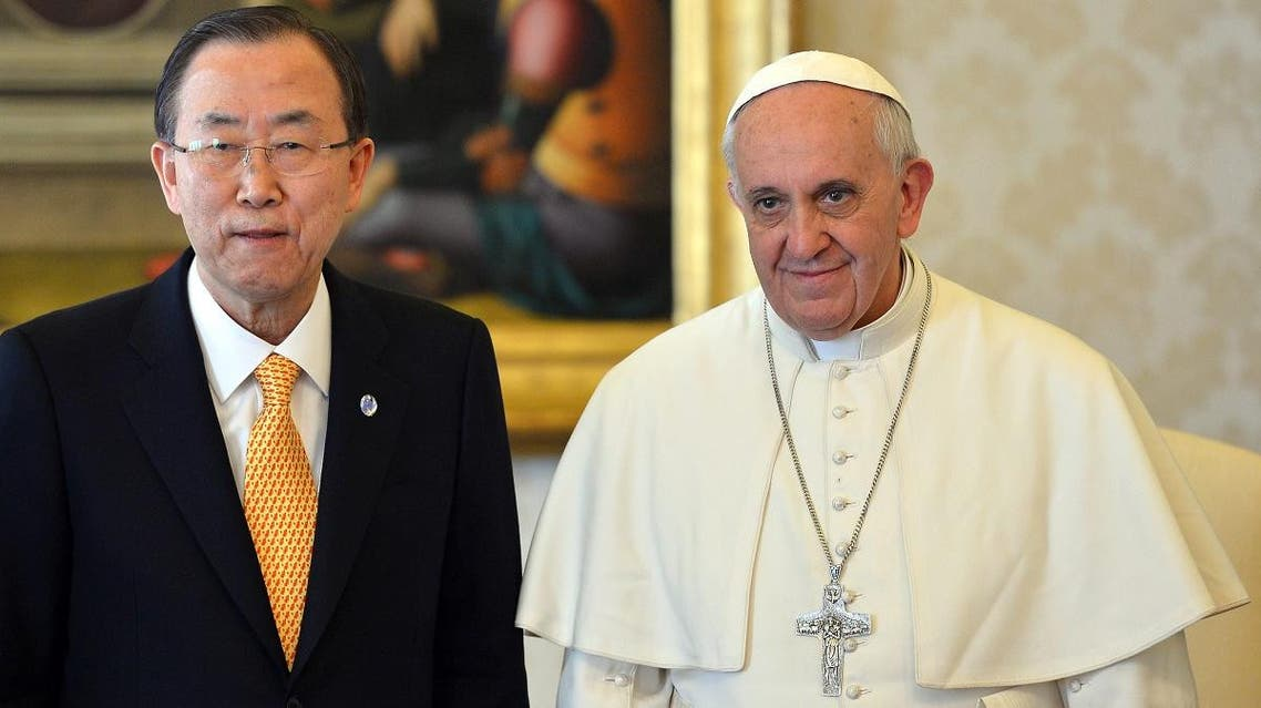 UN Secretary-General Ban Ki-moon, left, and Pope Francis AP