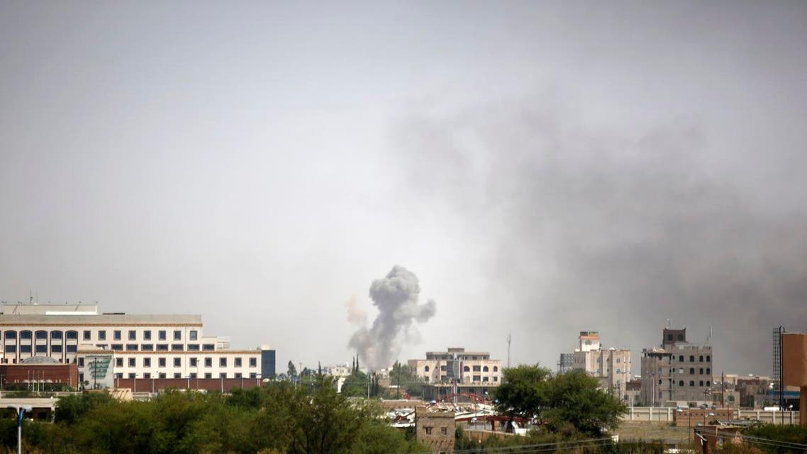 Smoke rises after an airstrike by the Saudi-led coalition in Sanaa, Yemen, Sunday, Sept. 6. (File photo: AP)