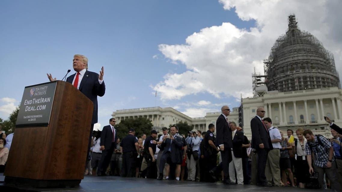 U.S. Republican presidential candidate Donald Trump addresses a Tea Party rally against the Iran nuclear deal