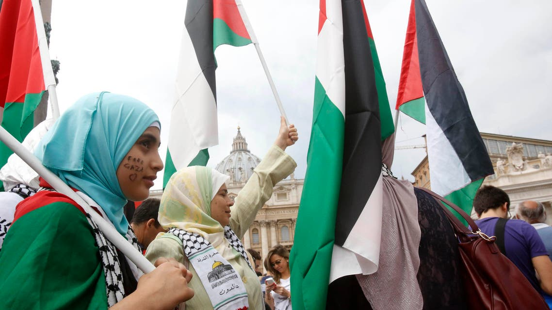 A small group of pro Palestine demonstrators wave Palestinian flags as they wait for Pope Francis' Angelus noon prayer, in St. Peter's square at the Vatican, Sunday, Aug. 3, 2014. (AP)