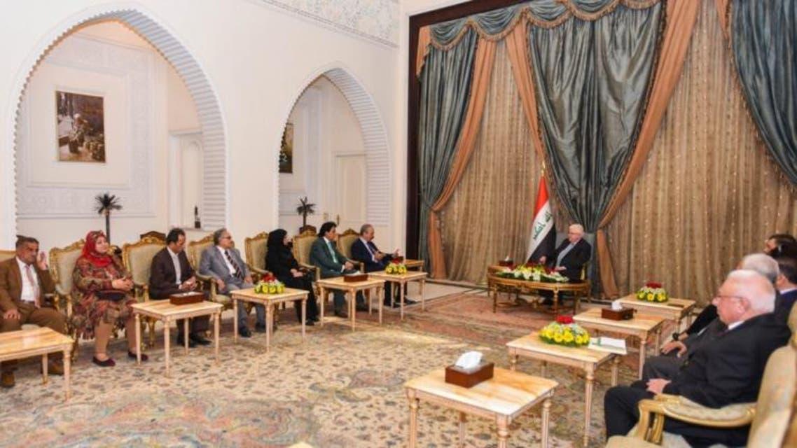 الرئيس العراقي فؤاد معصوم مع وفد نقابة الفنانين