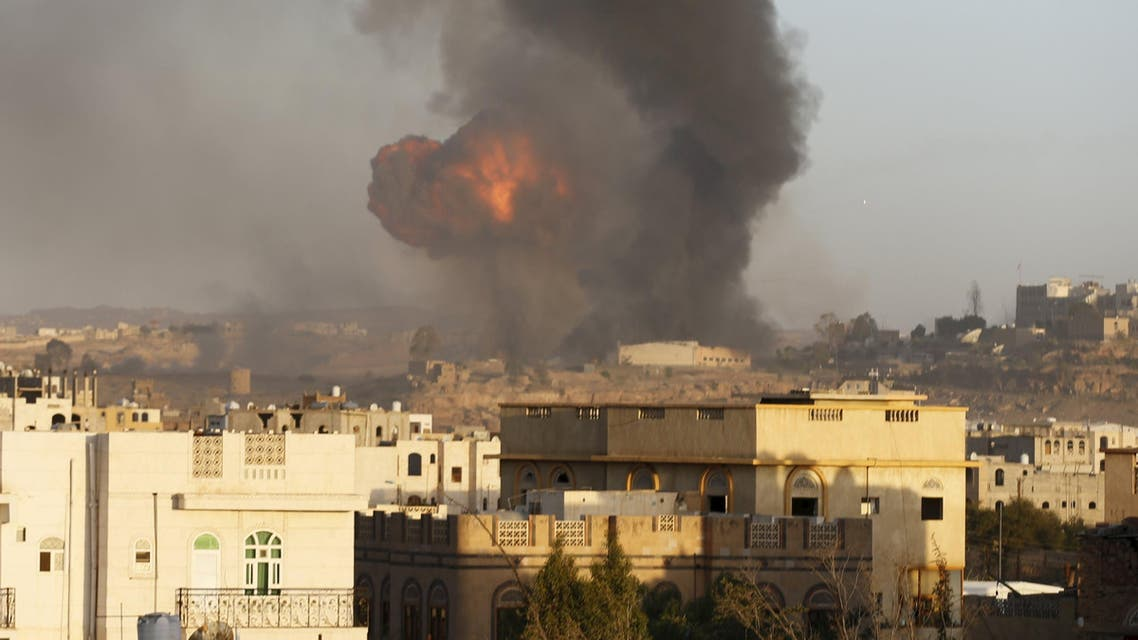 Smoke billows from a military base after a Saudi-led air strike hit its weapons depots in Yemen's capital Sanaa September 11, 2015. (Reuters)