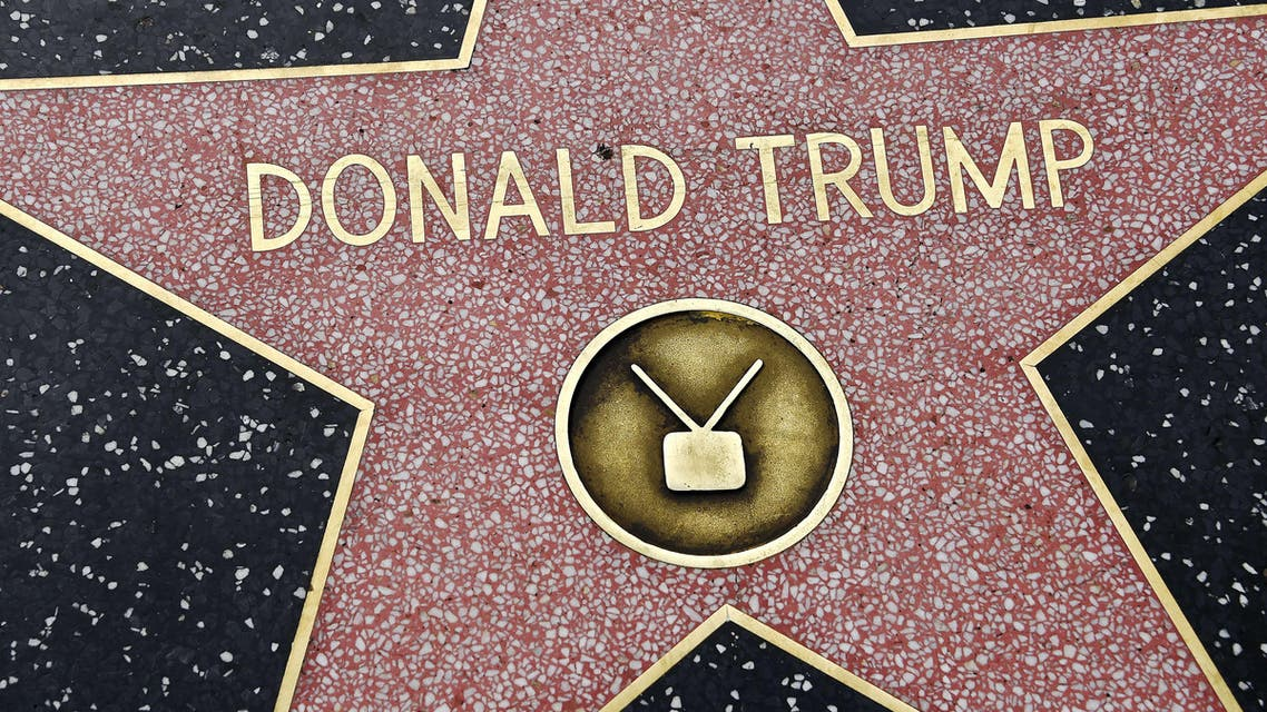 Republican presidential candidate frontrunner Donald Trump's star on the Hollywood Walk of Fame