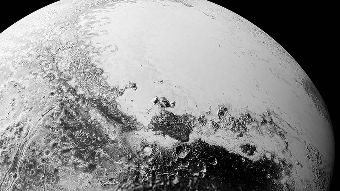 A synthetic perspective view of Pluto, based on the latest high-resolution images to be downlinked from NASA's New Horizons spacecraft, shows what you would see if you were approximately 1,800 kilometers above Pluto's equatorial area. (Reuters)
