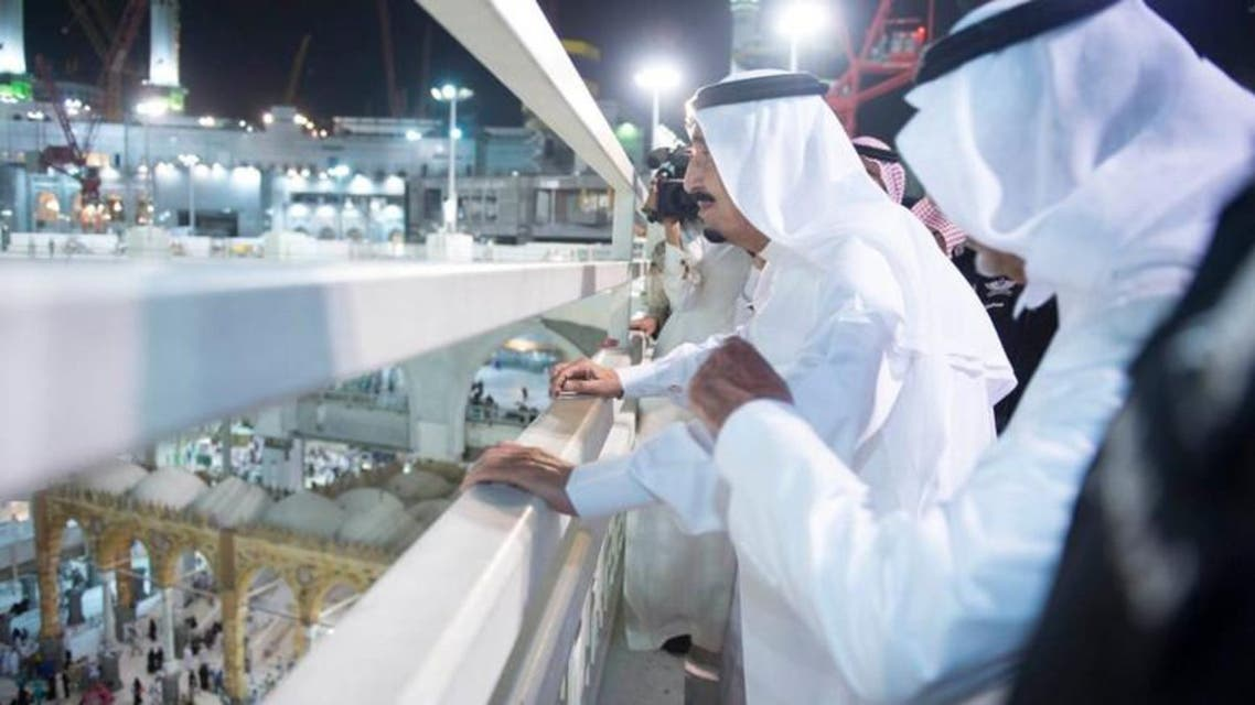 King Salman visits Grand Mosque day after crane collapses and kills 107 people.  (Photo courtesy: SPA)