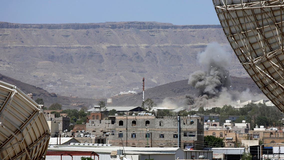 Smoke rises after an airstrike by the Saudi-led coalition on an army base in Sanaa, Yemen, Wednesday, Sept. 9, 2015. AP