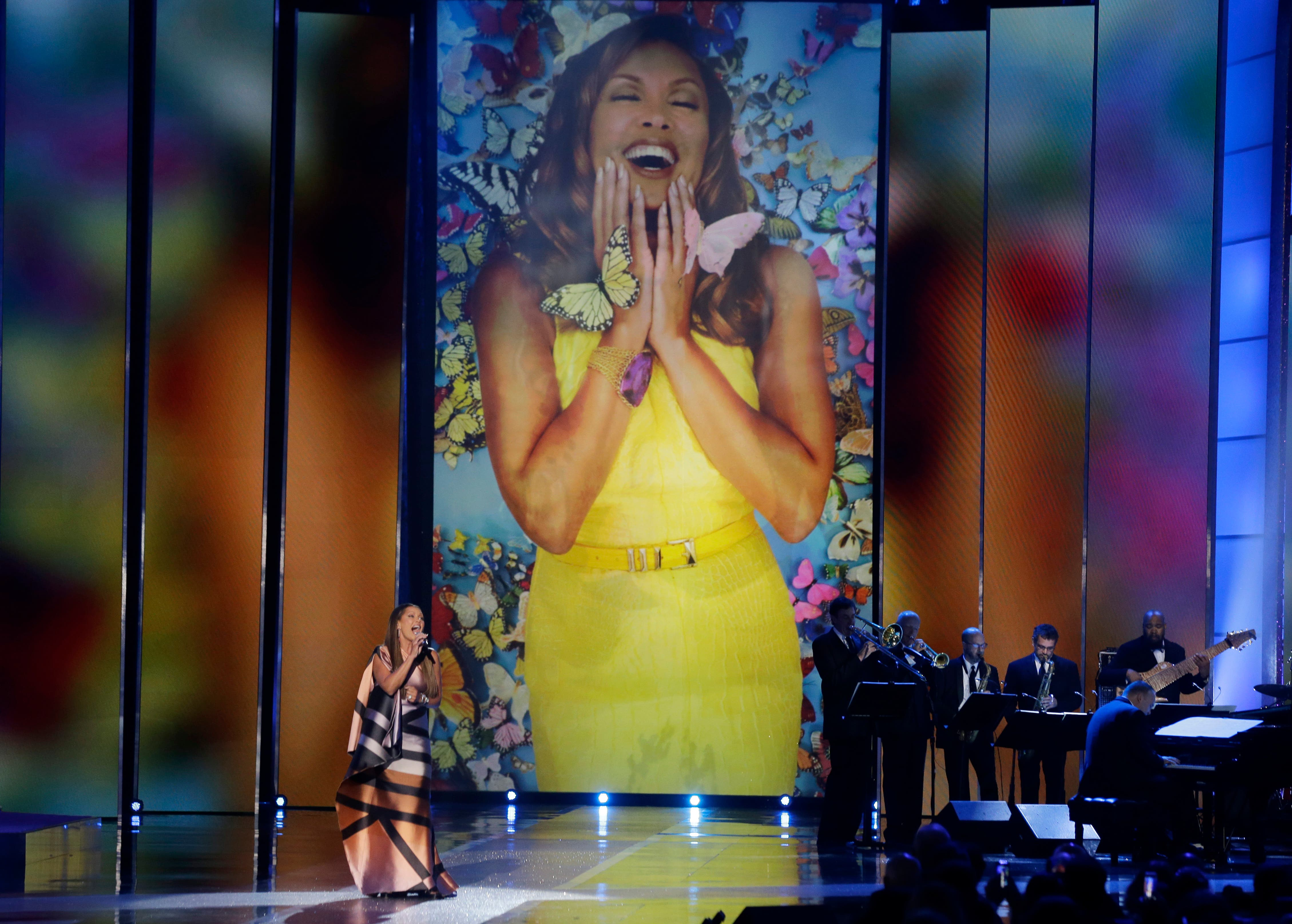Actress and singer Vanessa Williams sings during in the 2016 Miss America pageant, Sunday, Sept. 13, 2015,