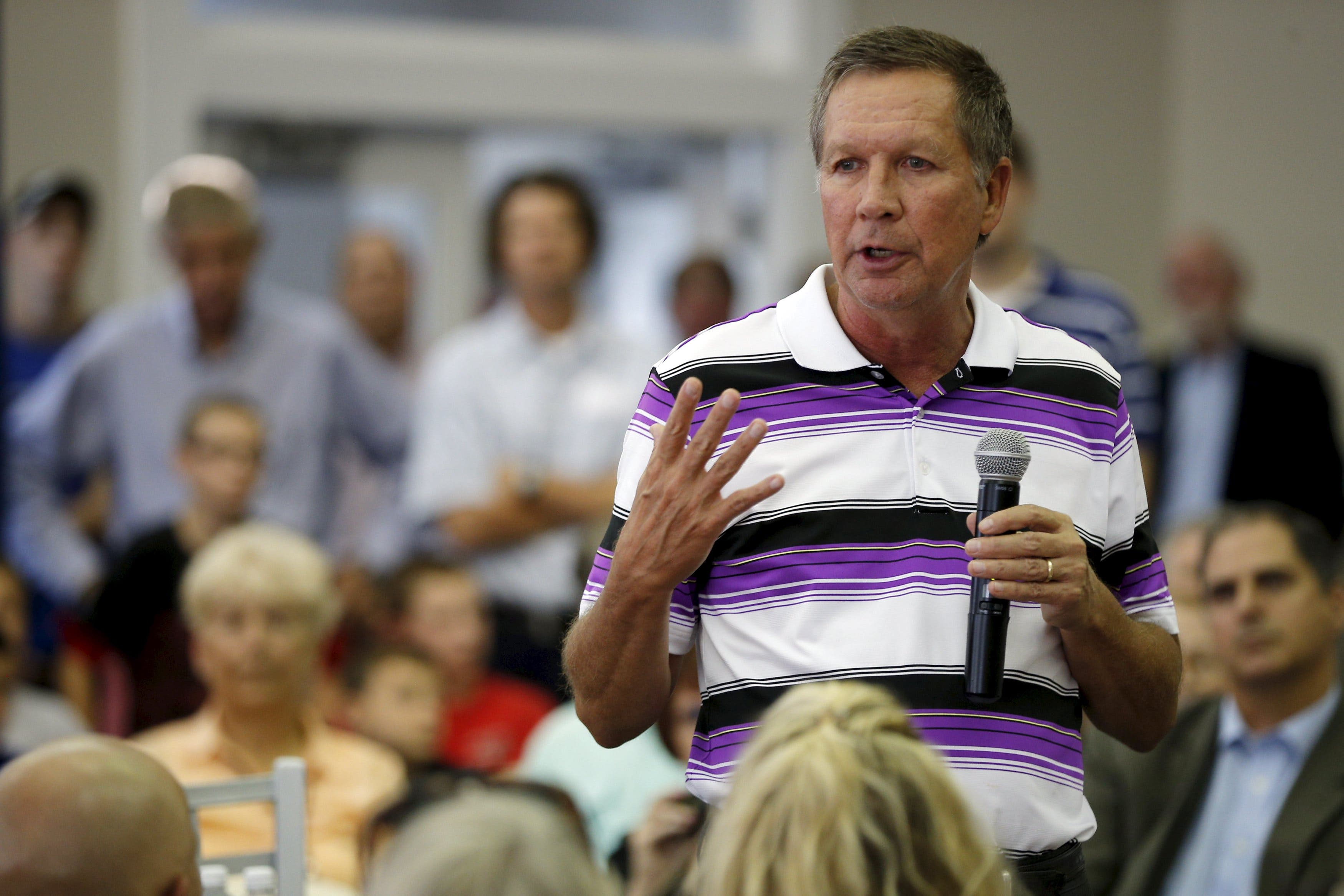 John Kasich at a campaign town hall meeting at New England College in Henniker, New Hampshire. (Reuters)