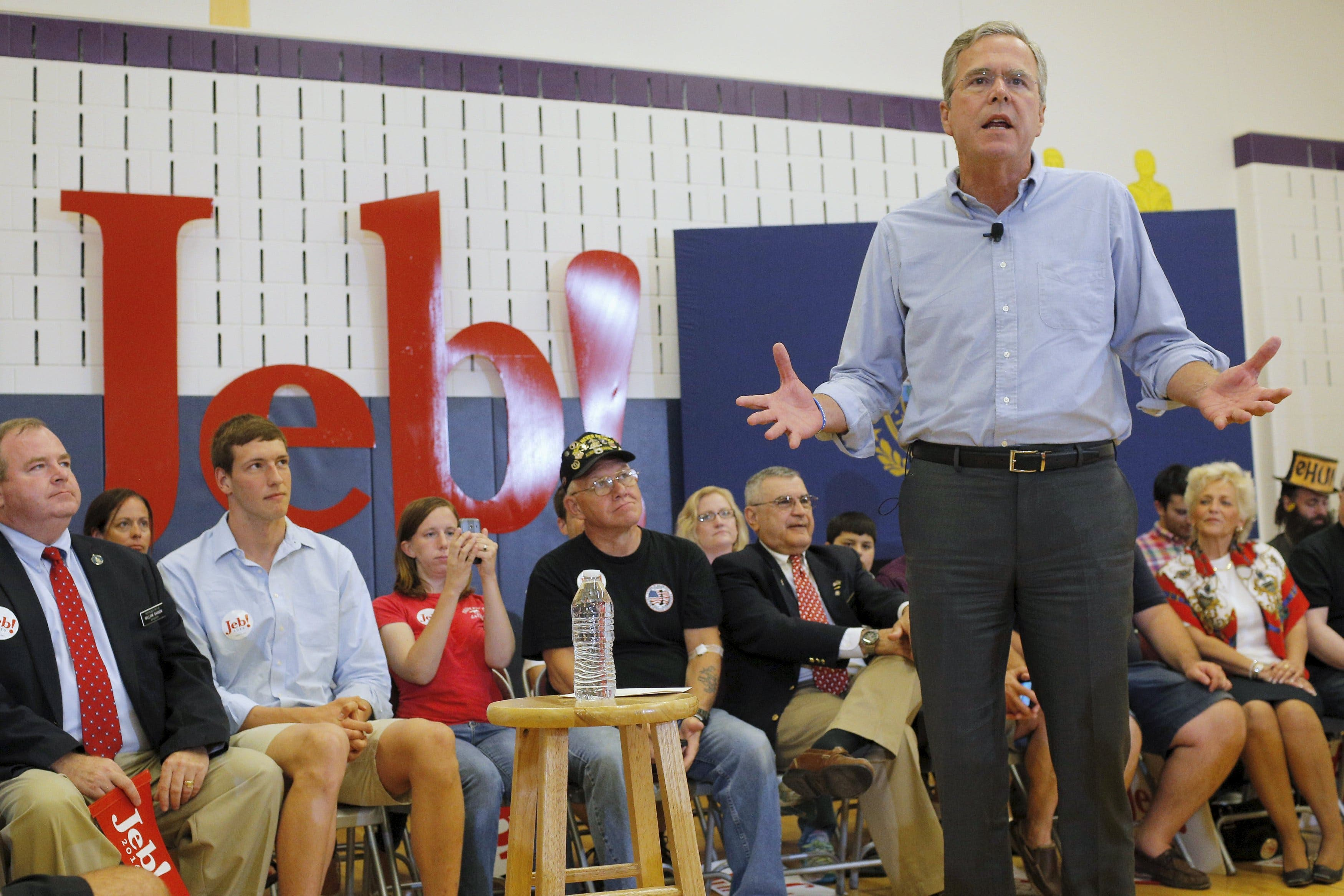 Jeb Bush speaks a campaign town hall meeting in Salem, New Hampshire in September. (Reuters)