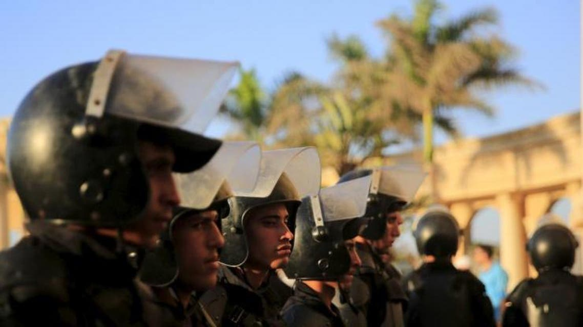 This file photo shows Egyptian riot police standing guard at a soccer match in Alexandria, Egypt, on July 21, 2015. (Reuters)