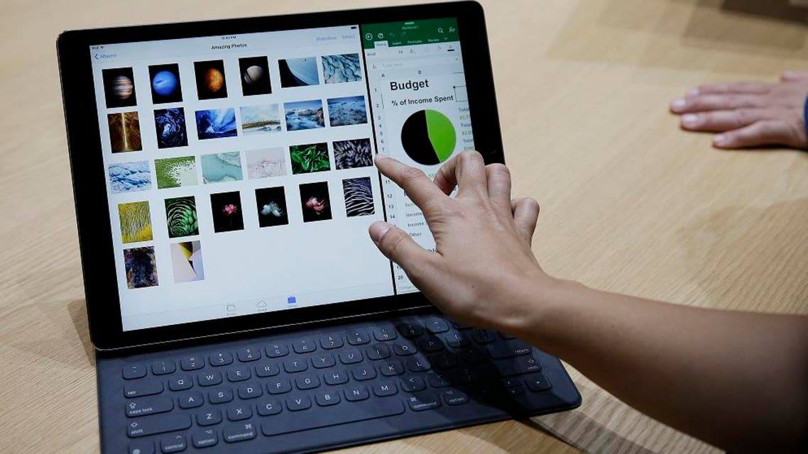 The new iPad Pro with a Smart Keyboard on show after an Apple event in Sept. 2015. (AP Photo)