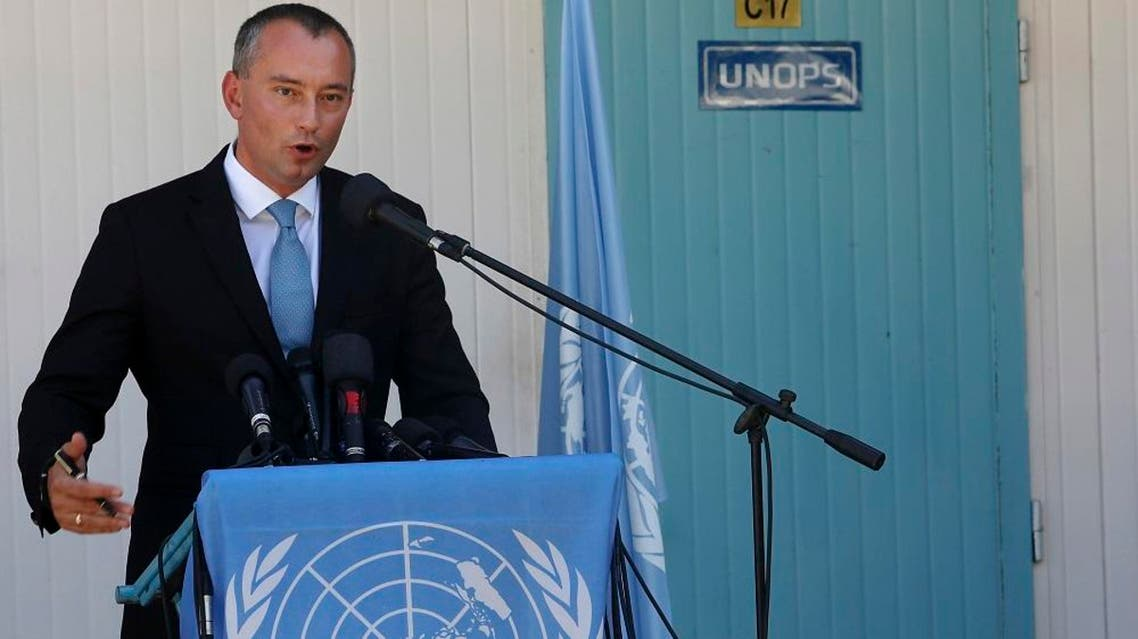 United Nations Special Coordinator for the Middle East Peace Process Nickolay Mladenov, talks during his a press conference in Gaza City, Thursday, Sept. 17, 2015. AP