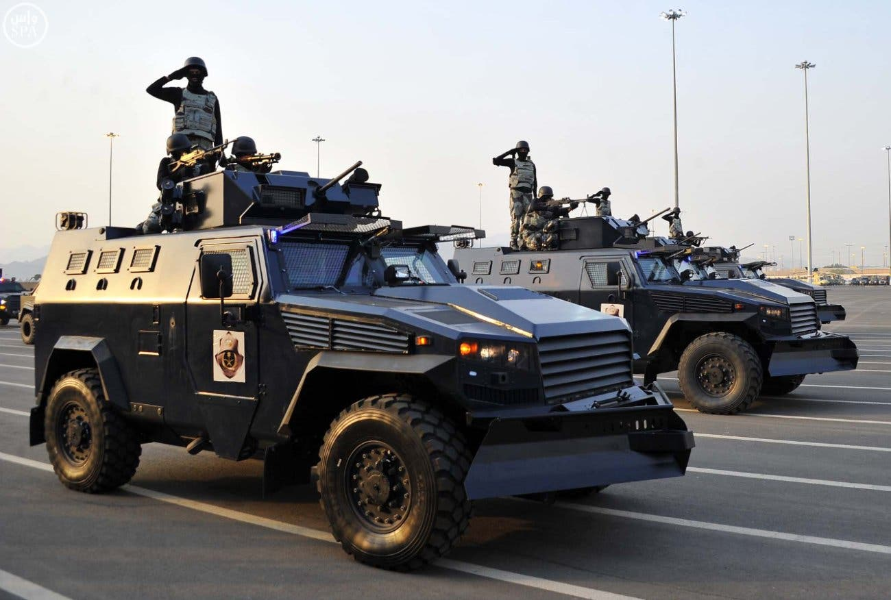 Members of Saudi security forces take part in a military parade in preparation for the annual Hajj pilgrimage. (SPA)