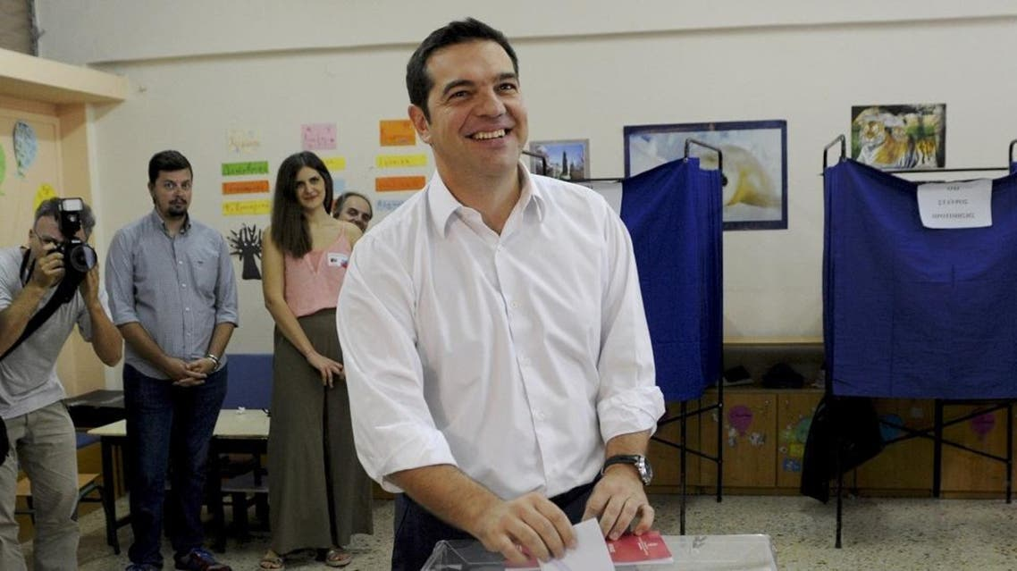 Former Greek prime minister and leader of leftist Syriza party Alexis Tsipras cast his ballot as he votes for the general elections at a polling station in Athens, Greece. (Reuters)