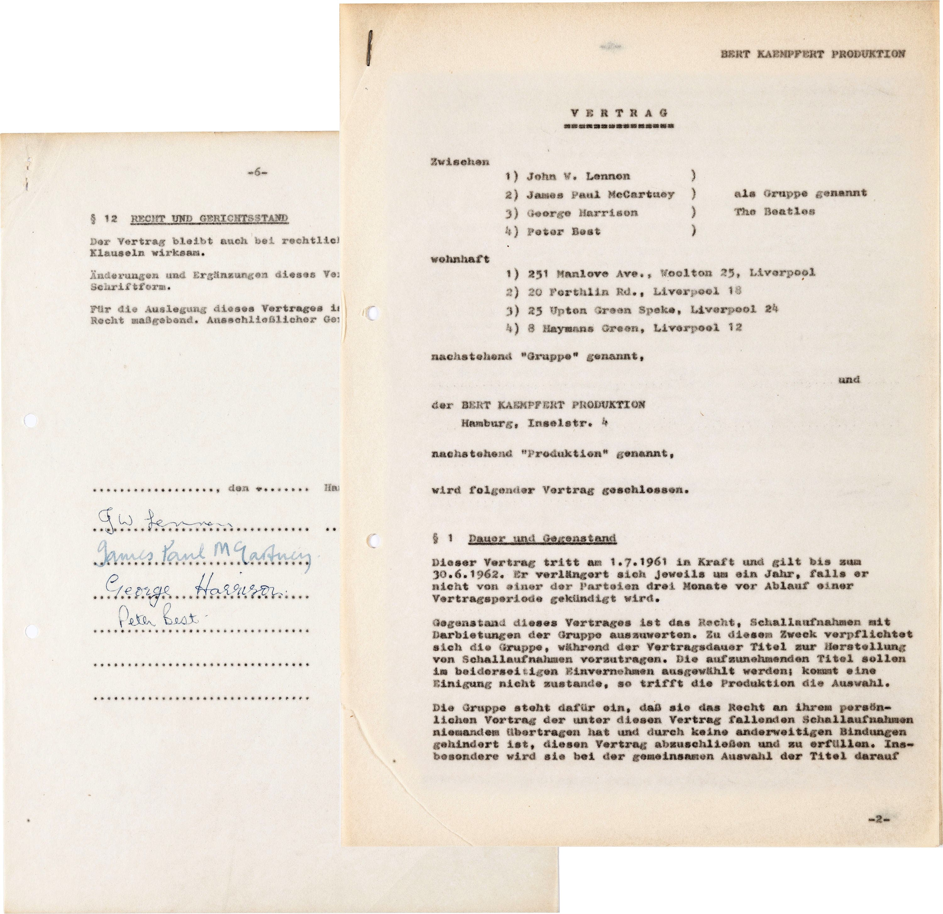 This undated photo provided by Heritage Auctions shows a 1961 contract written in German and signed by the Beatles - ap