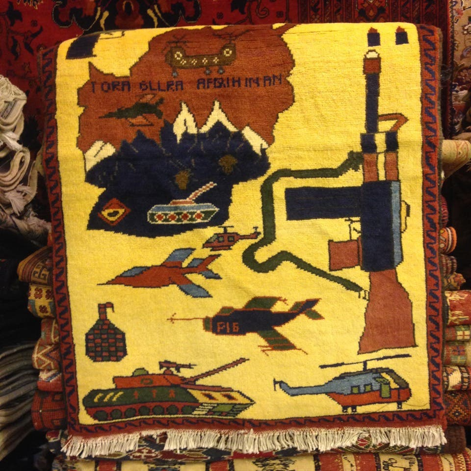 An Afghani 'war rug' at Souk al-Zal. (Photo: Miles Lawrence)