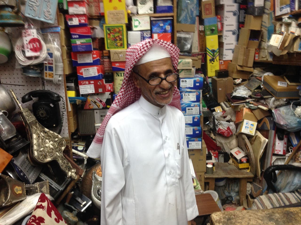 DIY dealer Ali Omar Binjahlan loves to fix old radios and record players. (Photo: Miles Lawrence)