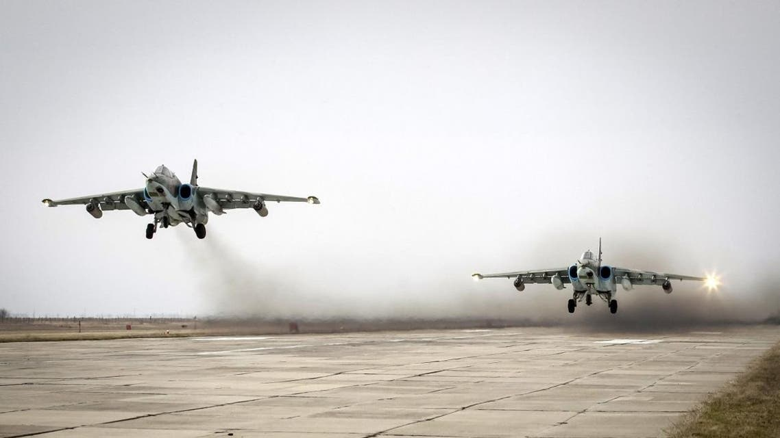 Sukhoi Su-25 jet fighters take off during a drill at the Russian southern Stavropol region, March 12, 2015. (Reuters)