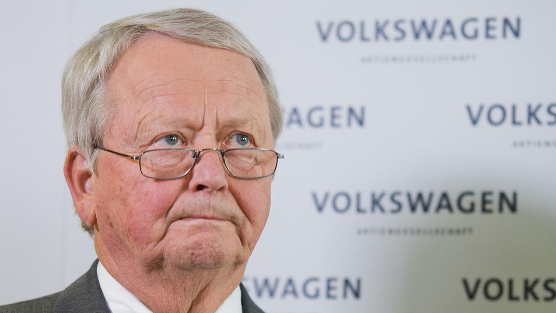 Volkswagen's supervisory board member Wolfgang Porsche listens during a statement announcing that CEO Martin Winterkorn stepped down amid an emissions scandal in the company's headquarters in Wolfsburg, Germany, Wednesday, Sept. 23, 2015. (Julian Stratenschulte/dpa via AP)