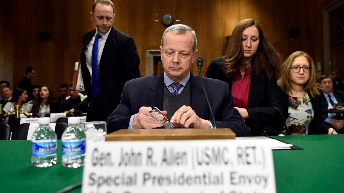 Special Presidential Envoy for the Global Coalition to Counter IS, retired Gen. John R. Allen prepares to testify on Capitol Hill in Washington, Wednesday, Feb. 25. (AP)