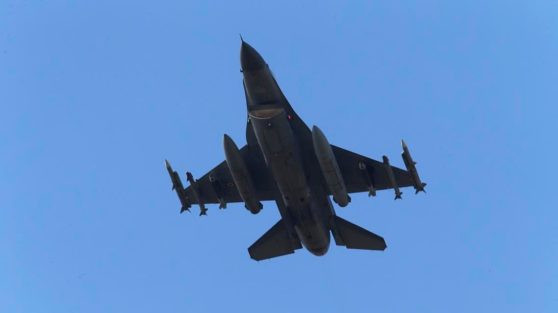 a missile-loaded Turkish Air Force warplane rises in the sky after taking off from Incirlik Air Base, in Adana, southern Turkey. (File photo: AP)