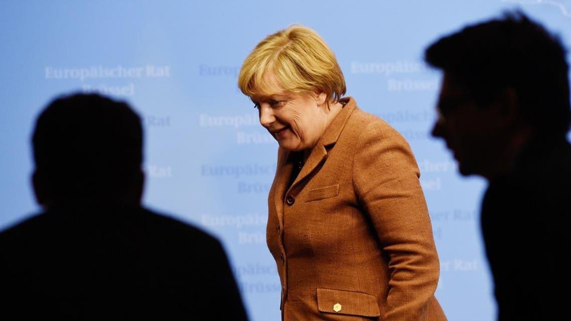 German federal chancellor Angela Merkel, leaves after a press conference on Sept. 23 in Brussels. (AFP)