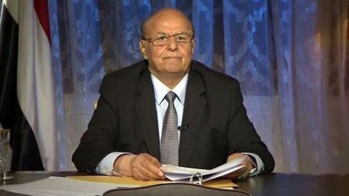 Yemeni president Abdrabbu Mansour Hadi gave a televised speech from Aden, a first since returning from exile. (Al Arabiya)