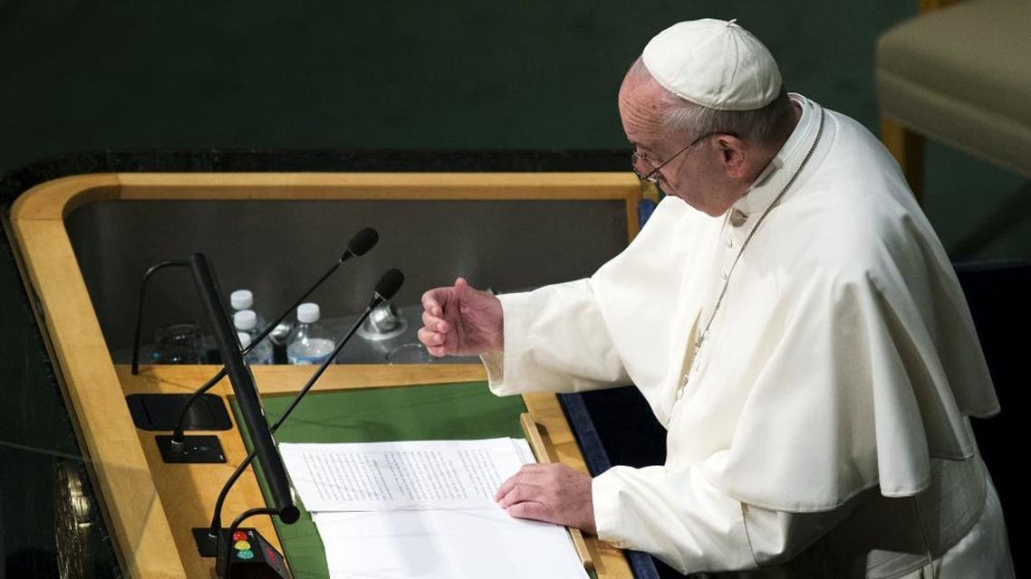 Pope Francis addresses attendees in the opening ceremony to commence a plenary meeting of the United Nations Sustainable Development Summit 2015 at the United Nations headquarters in Manhattan, New York September 25, 2015. (Reuters)