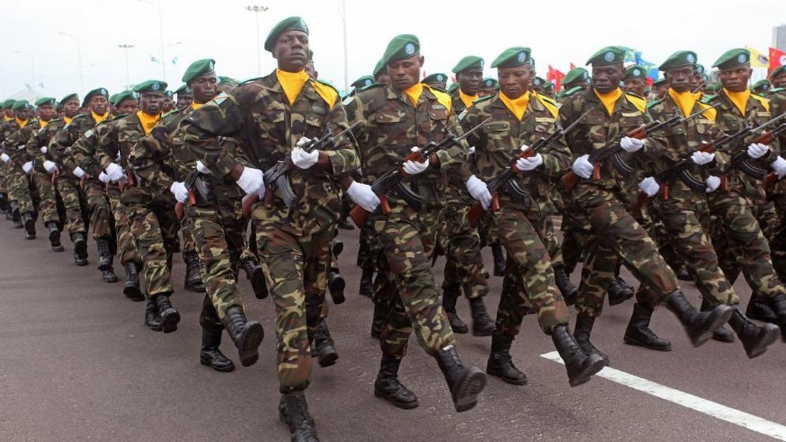 Congolese troops pass by during a military parade in the city of Kinshasa, Democratic Republic of Congo, June 30, 2014. (AP)