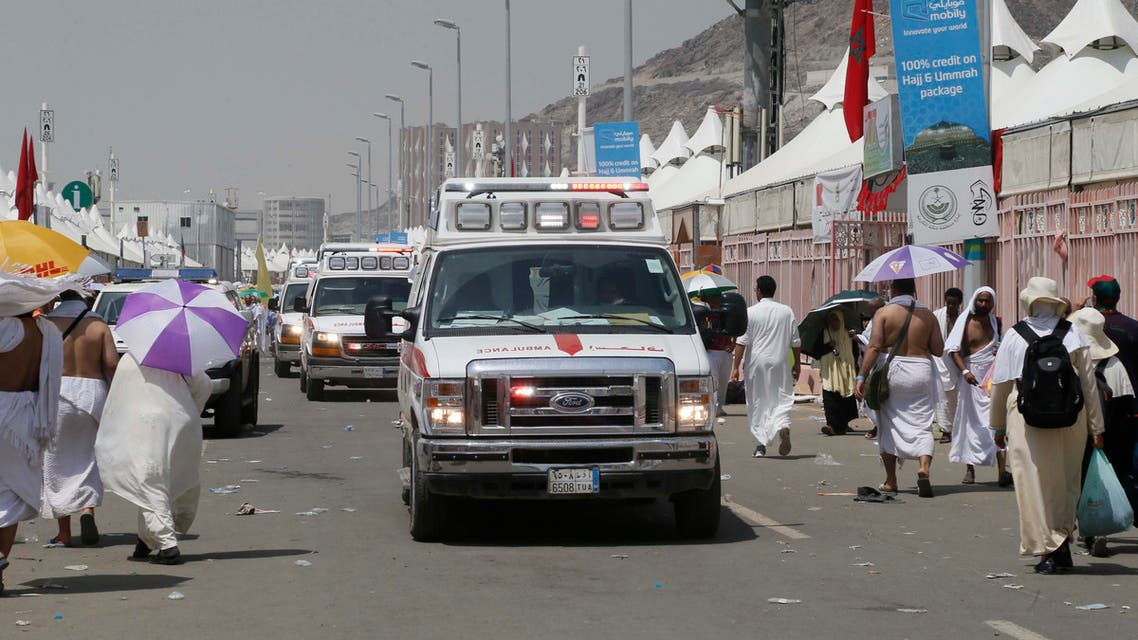 An ambulance truck at the scene where hundreds of pilgrims died in a stampede during Hajj on Thursday. (Essa Al Dobisi/ Al Arabiya)