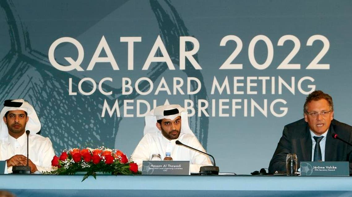Nasser Al Khater Qatar 2022 Local Organizing Committee Deputy CEO, left, Hassan Al Thawadi, head of the Qatar 2022 World Cup organizing committee, center, and FIFA Secretary General Jerome Valcke give a press conference, in Doha. (File: AP)